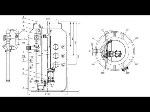 HCP 1100C B50 – jímka s jedním čerpadlem DN 80